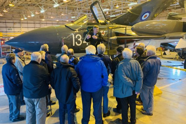 Jet Pilot Steve Collier talks to the supporters about the progress of the Sea Vixen